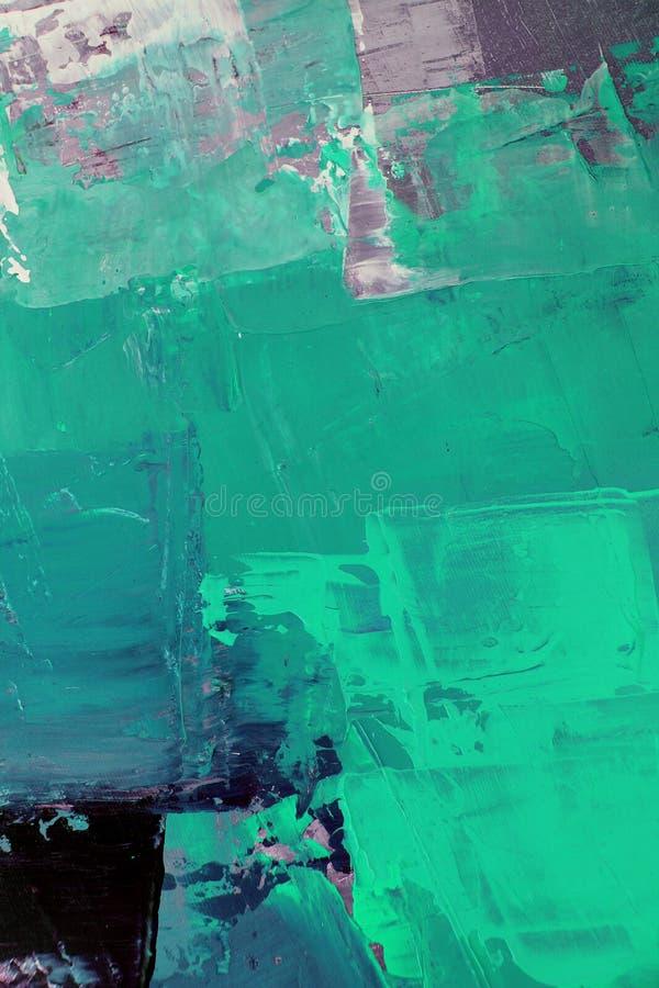 Groene kleuren op canvas Landschap met rivier en bos Abstracte kunstachtergrond Olieverfschilderij op canvas Kleurentextuur Fragm stock illustratie