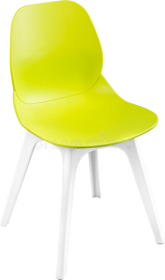 Groene kleuren plastic stoel, moderne ontwerper Stoel op witte achtergrond wordt geïsoleerd die Meubilair en binnenland royalty-vrije stock foto's