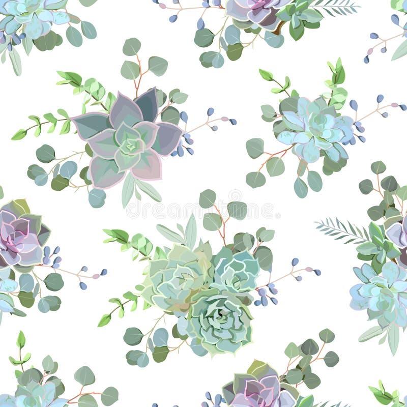 Groene kleurrijke succulente naadloze vector het ontwerpdruk van Echeveria stock illustratie