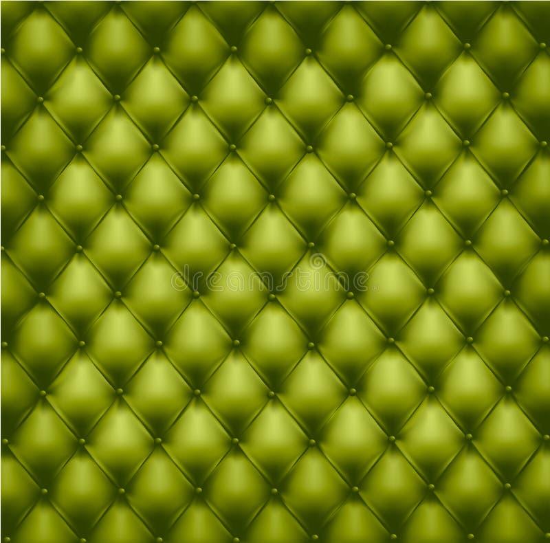Groene knoop-doorgenaaide leerachtergrond. stock illustratie