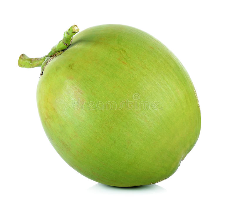 Groene kokosnoot op de witte achtergrond stock afbeelding