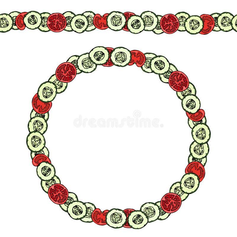 Groene Komkommer en Rode Tomatenplakken Eindeloze patroonborstel, ronde slinger Kroon of Cirkelkader Ketchupembleem of Plantaardi royalty-vrije illustratie