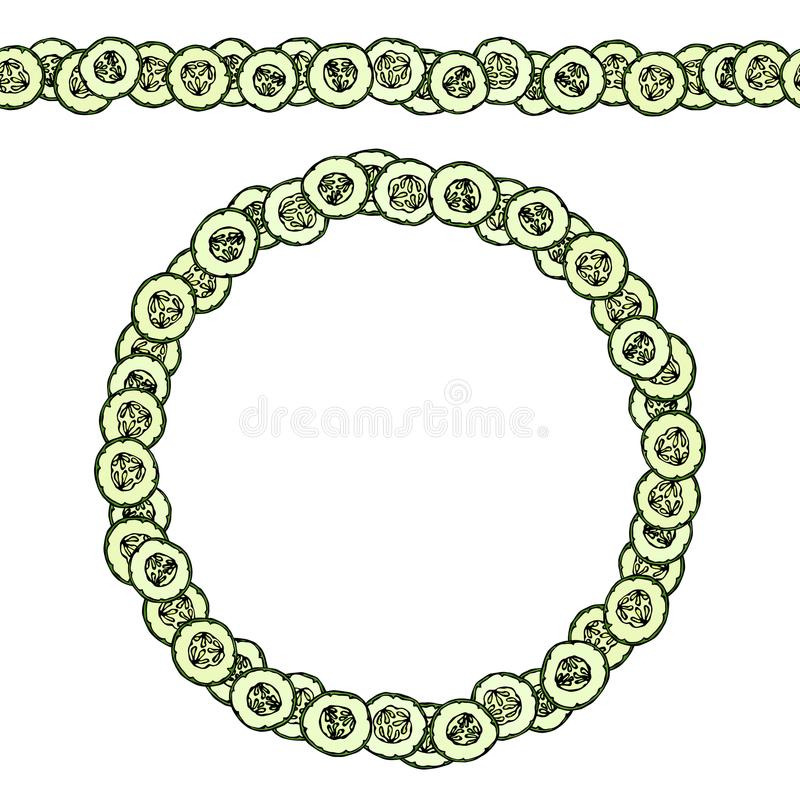 Groene Komkommer of Gerkin-Cirkelplakken Eindeloze patroonborstel, ronde slinger Kroon of Kader Verse Rijpe Plantaardige Gezonde  stock illustratie