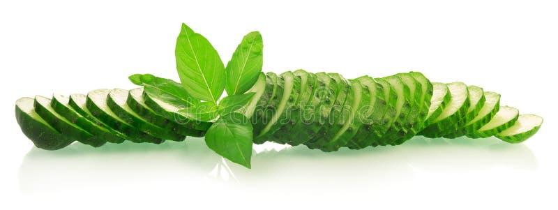 Groene komkommerplakken stock afbeeldingen