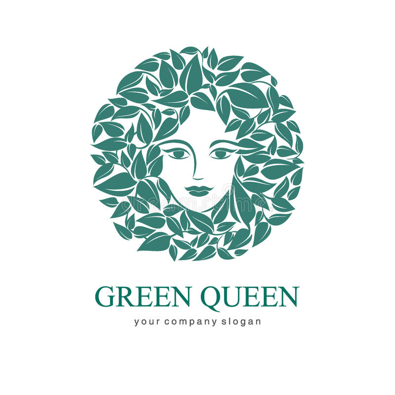 Groene Koningin Logo Embleem voor schoonheidsmiddel, schoonheid, Kuuroord