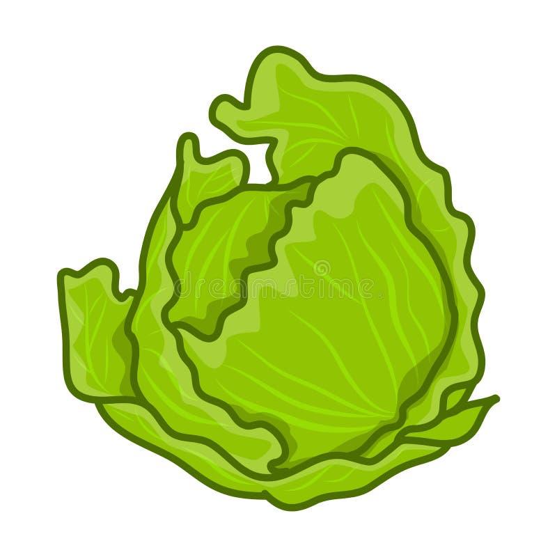 Groene koolbeeldverhaal geïsoleerde illustratie royalty-vrije illustratie