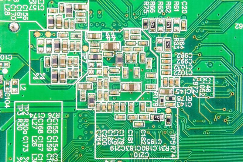 Groene kringsraad De technologie van de elektronische computerhardware stock afbeelding