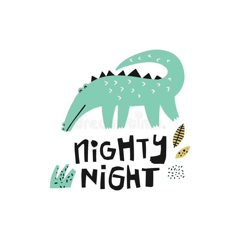 Groene krokodilhand getrokken illustratie royalty-vrije illustratie