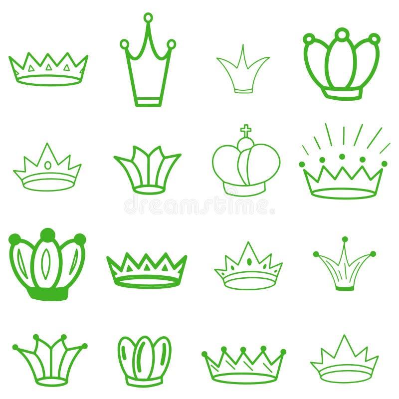 Groene kronen tiara De kroon van de diadeemschets Hand getrokken koningintiara, koningskroon Koninklijke keizerkroningssymbolen,  royalty-vrije illustratie
