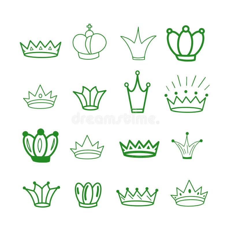 Groene kronen tiara De kroon van de diadeemschets Hand getrokken koningintiara, koningskroon Koninklijke keizerkroningssymbolen,  vector illustratie