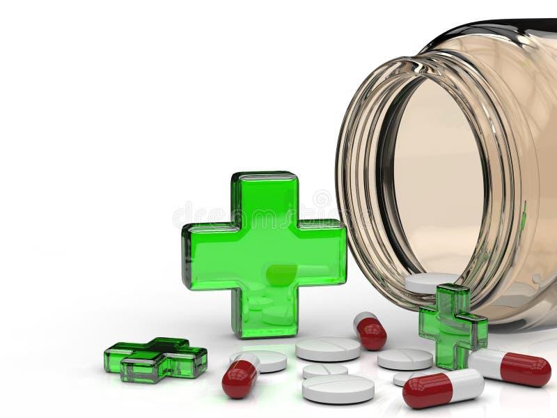 Groene kruis en pillen vector illustratie