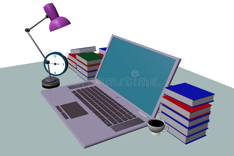groene laptop op het 3d lijst zijaanzicht stock fotografie