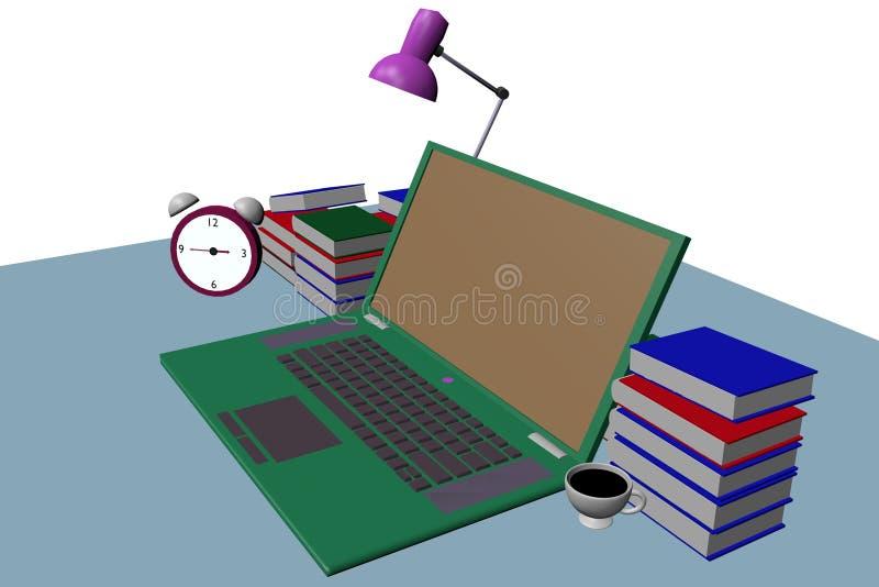 groene laptop op het 3d lijst zijaanzicht stock foto's