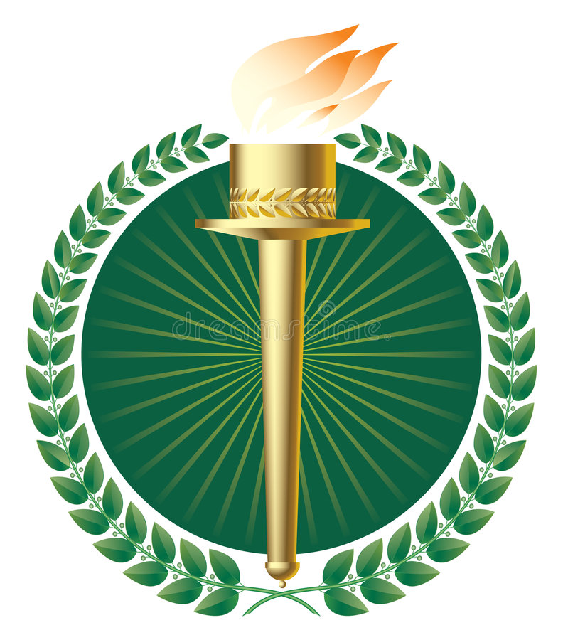 Groene laurels en gouden toorts stock illustratie