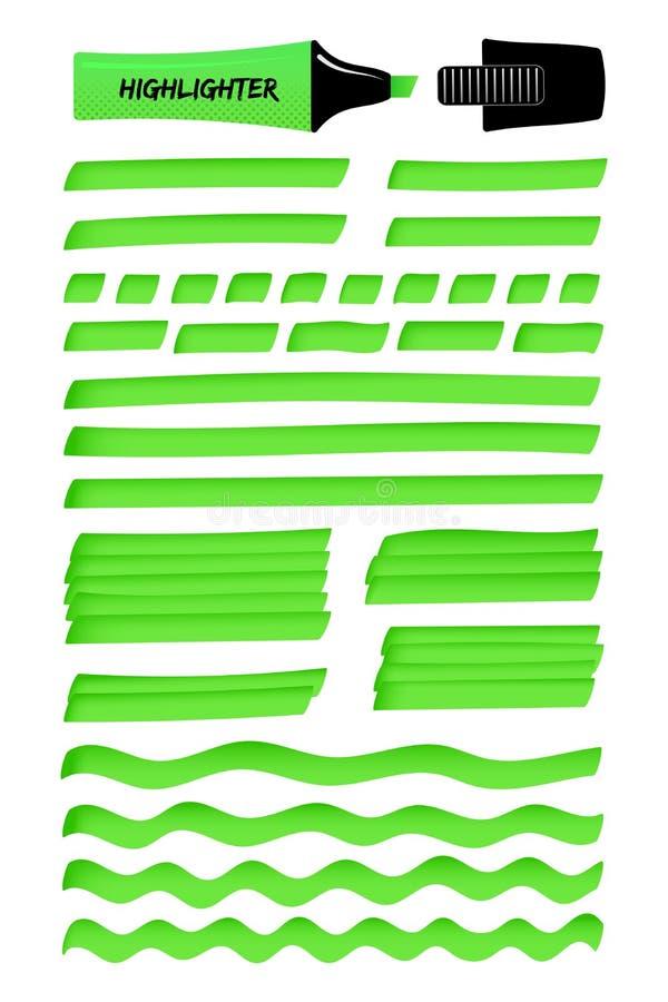 Groene lijnen en gelaagd gekrabbel met highlighter stock illustratie