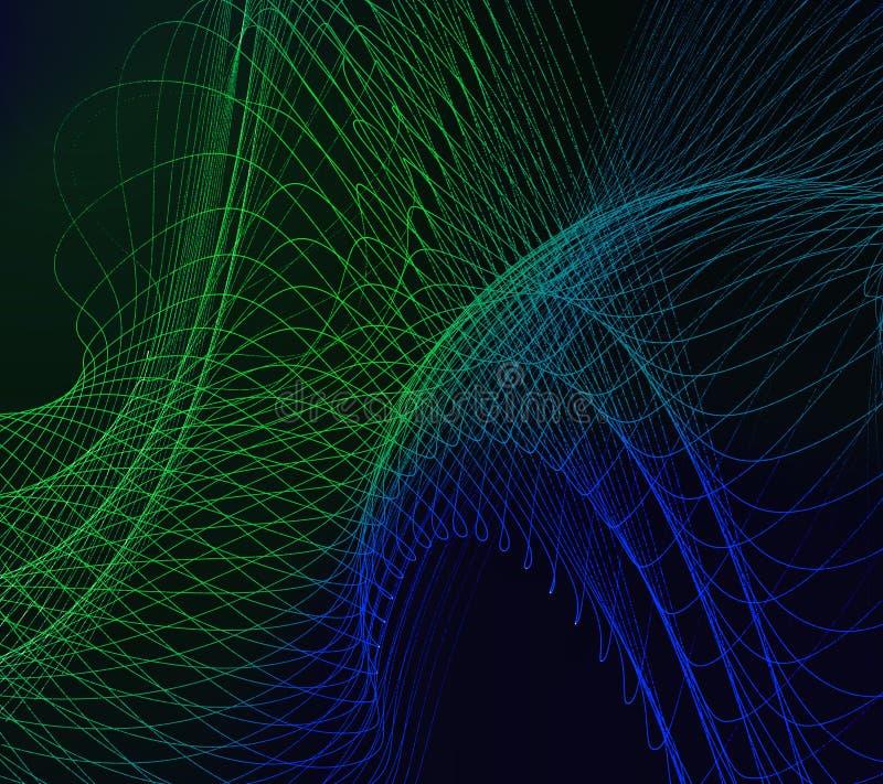 Groene lijnen op donkere achtergrond royalty-vrije illustratie