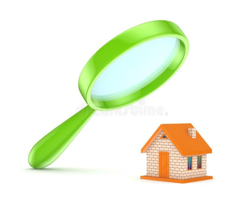 Groene loupe met een plattelandshuisje. stock illustratie