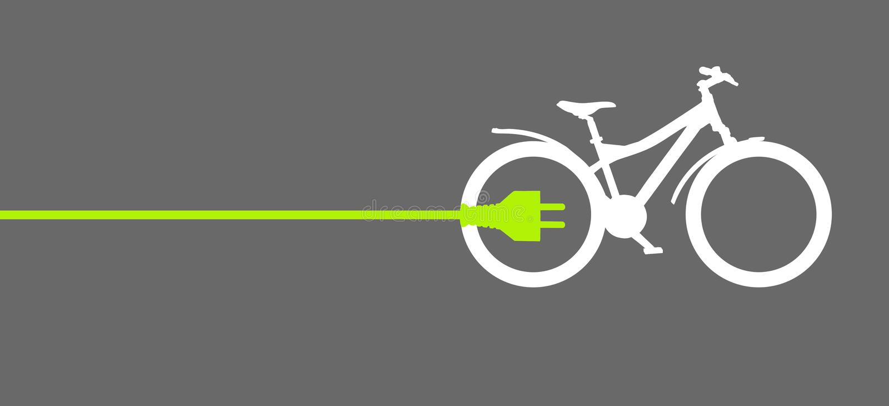 Groene machtsstop met fiets stock afbeelding