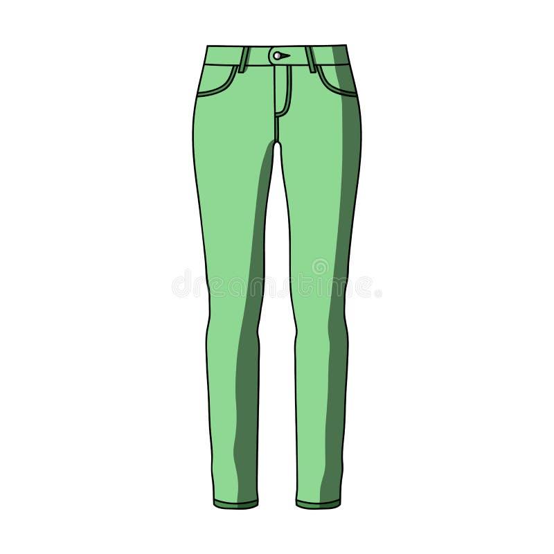 Groene magere broek voor vrouwen Vrouwen` s kleren voor een gang Vrouwen die enig pictogram in vector het symboolvoorraad van de  royalty-vrije illustratie