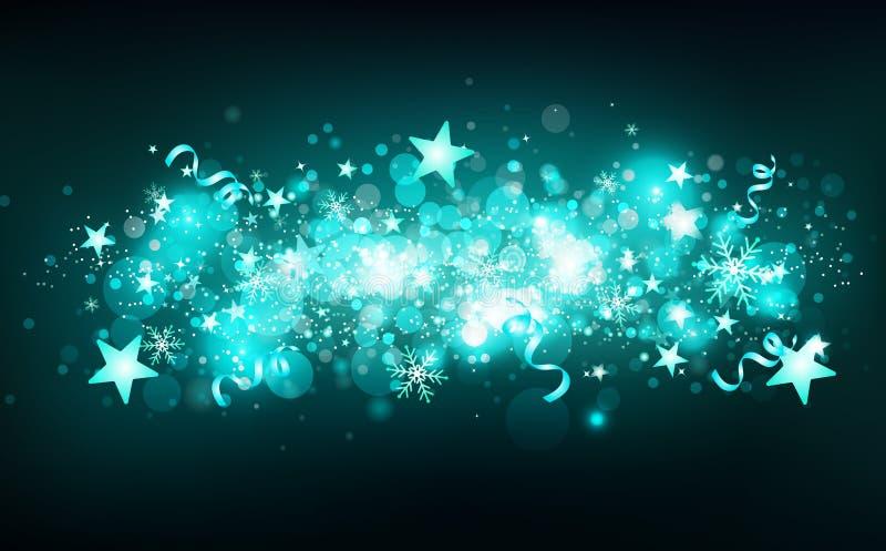 Groene magische vallende sterrenmotie, fantasiewintertijd, sterren dalende confettien, sneeuwvlokken en linten, gloeiende onscher vector illustratie
