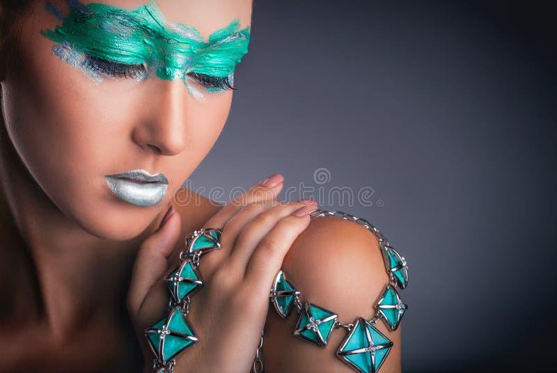 Groene make-up royalty-vrije stock afbeelding