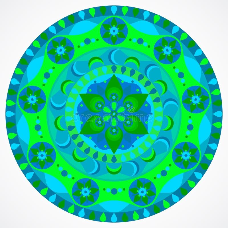 Groene mandala van geluk vector illustratie