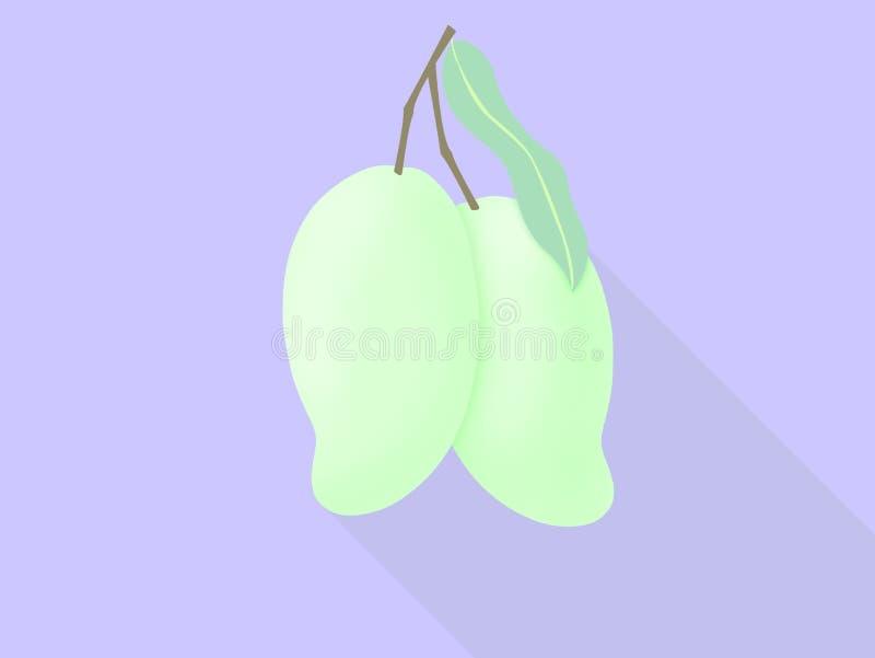 Groene mango twee van tropisch fruitpictogram voor affiche in vlak ontwerp royalty-vrije illustratie
