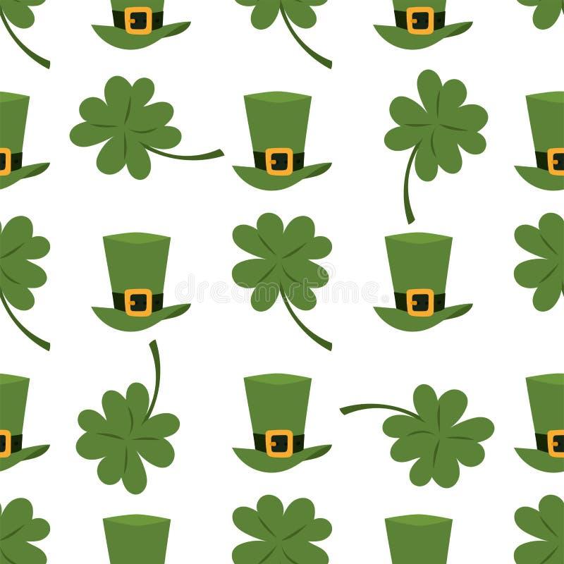 Groene materiële kabouterhoed met bruine het patroon van de achtergrond leerband naadloze gouden klaver en gespvector royalty-vrije illustratie