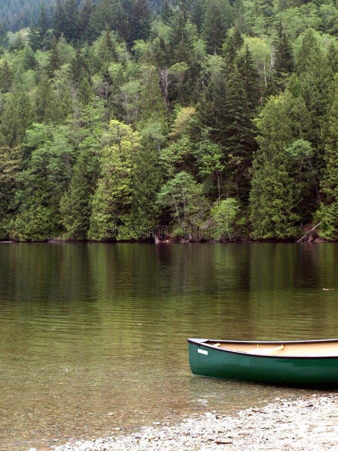 Groene meer en kano stock afbeelding