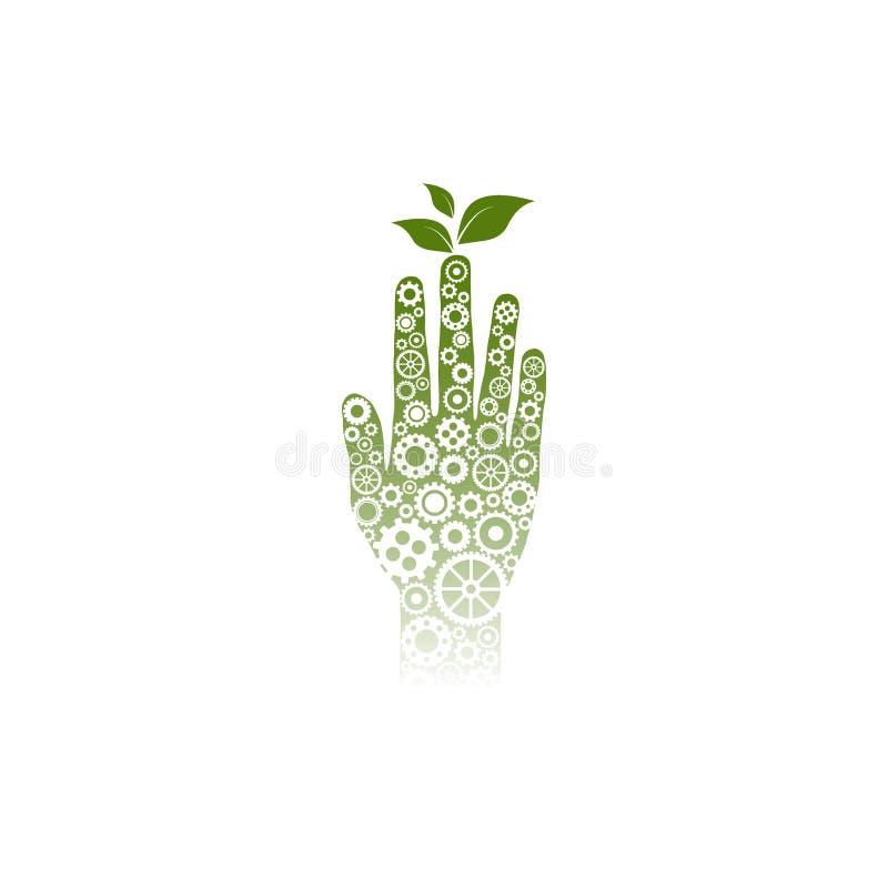 Groene Menselijke die hand - van kleine witte toestellen en wielen wordt gemaakt royalty-vrije illustratie
