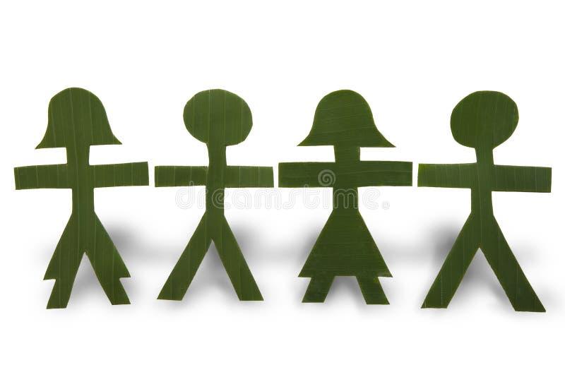 Groene Mensen in een Ketting stock fotografie