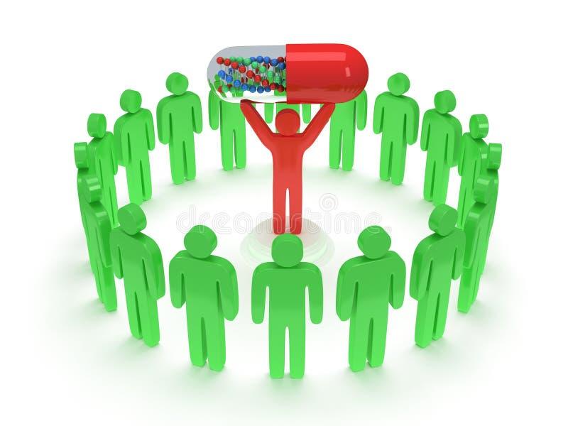 Groene mensen rond de rode mens met pil. 3D geef terug. royalty-vrije illustratie