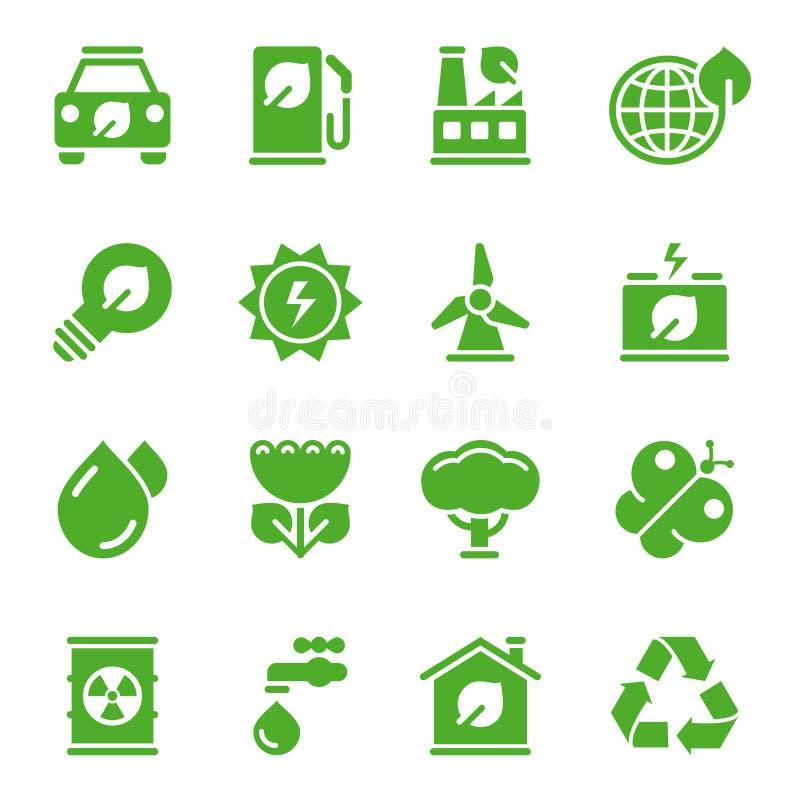 Groene milieupictogrammen stock illustratie
