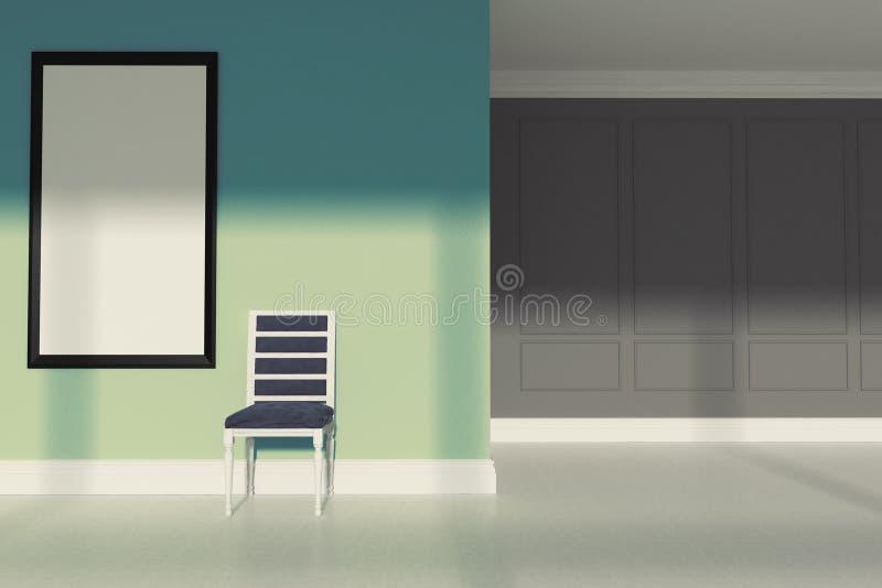 Groene minimalistische woonkamer, stoel vector illustratie