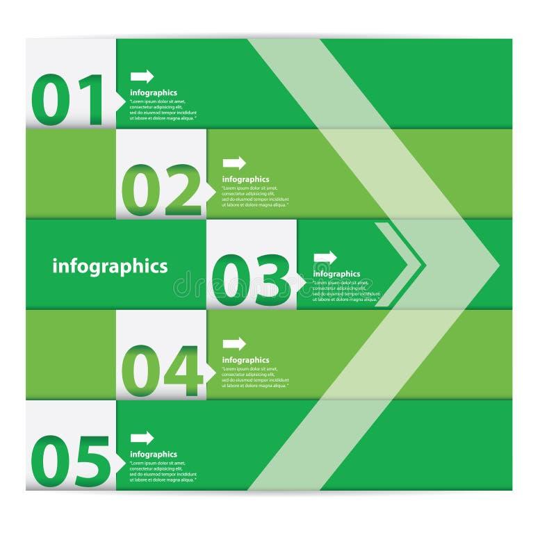 Groene Moderne vlakke ontwerpinfographics stock illustratie