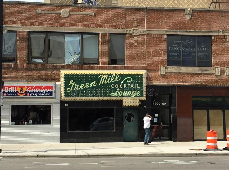 Groene Molencocktailbar, Beroemd Chicago Jazz Club stock fotografie
