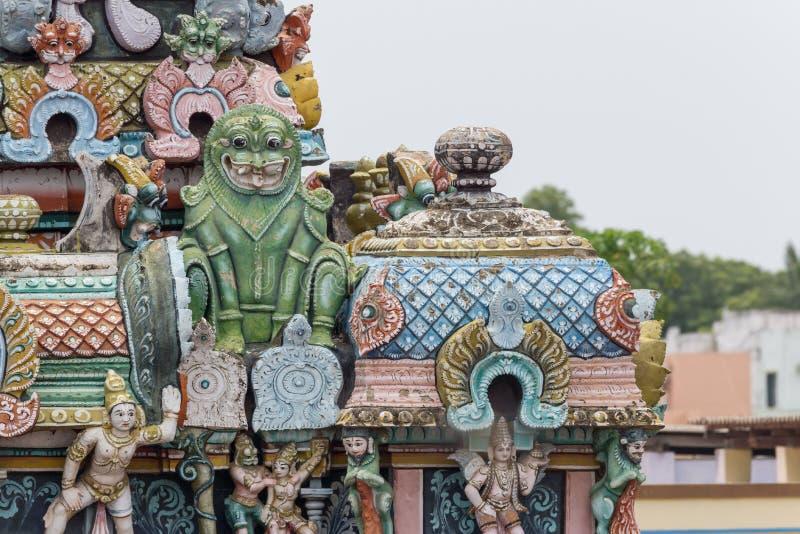 Groene monstereigenschappen op Gopuram in Shrirangam royalty-vrije stock foto's