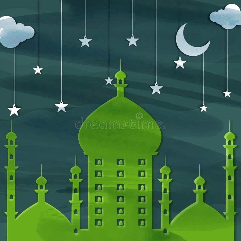 Groene Moskee voor Islamitische Festivallenviering royalty-vrije illustratie
