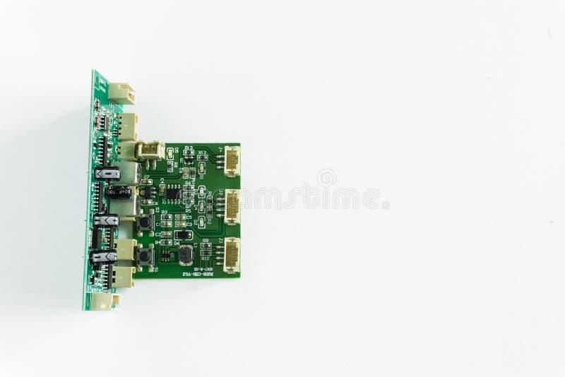 Groene motherboard met transistors op een witte achtergrond royalty-vrije stock fotografie