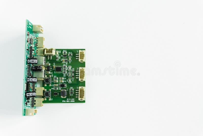 Groene motherboard met transistors op een witte achtergrond royalty-vrije stock foto's