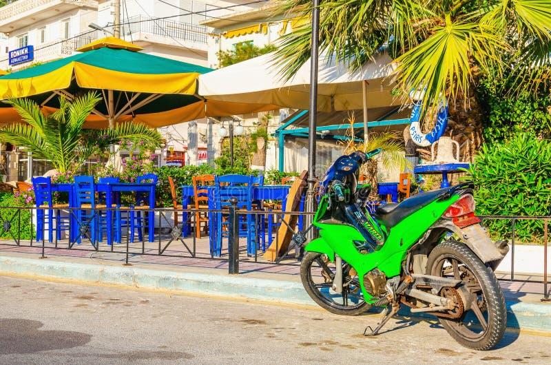 Groene motor voor Grieks restaurant royalty-vrije stock fotografie