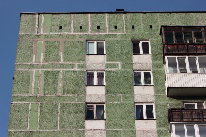 Groene muur van huis bij het krottenwijkgebied van stad stock foto's