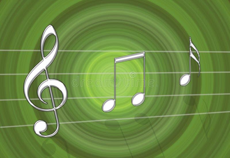 Groene muziek stock illustratie