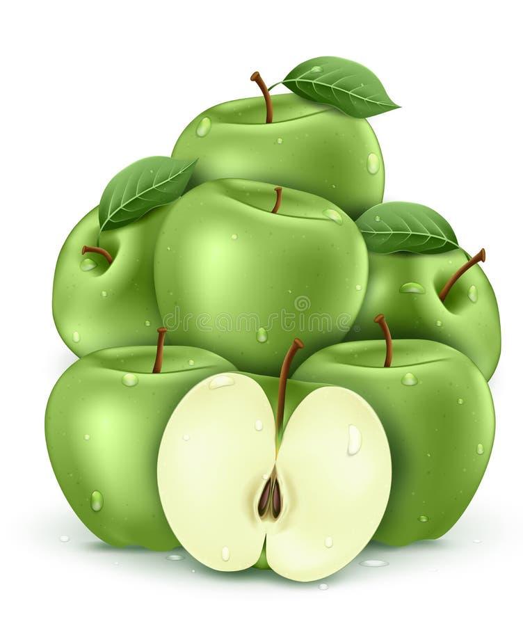 Groene nat verse appels met water druppelt 3D Realistisch gestapeld stock illustratie