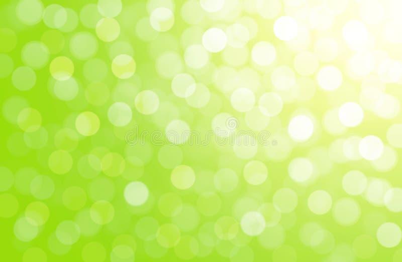 Groene natuurlijke achtergrond, de zomer, de lente, Pasen, witte cirkels, bokeh, licht, lichteffect, witte gradiënt, groen, geel, royalty-vrije illustratie