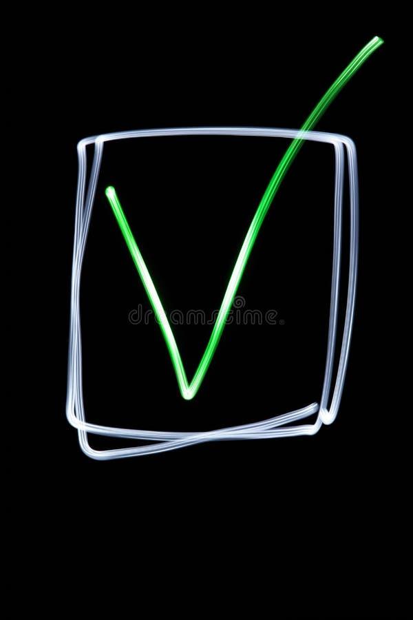 Groene neoncheckbox stock afbeeldingen