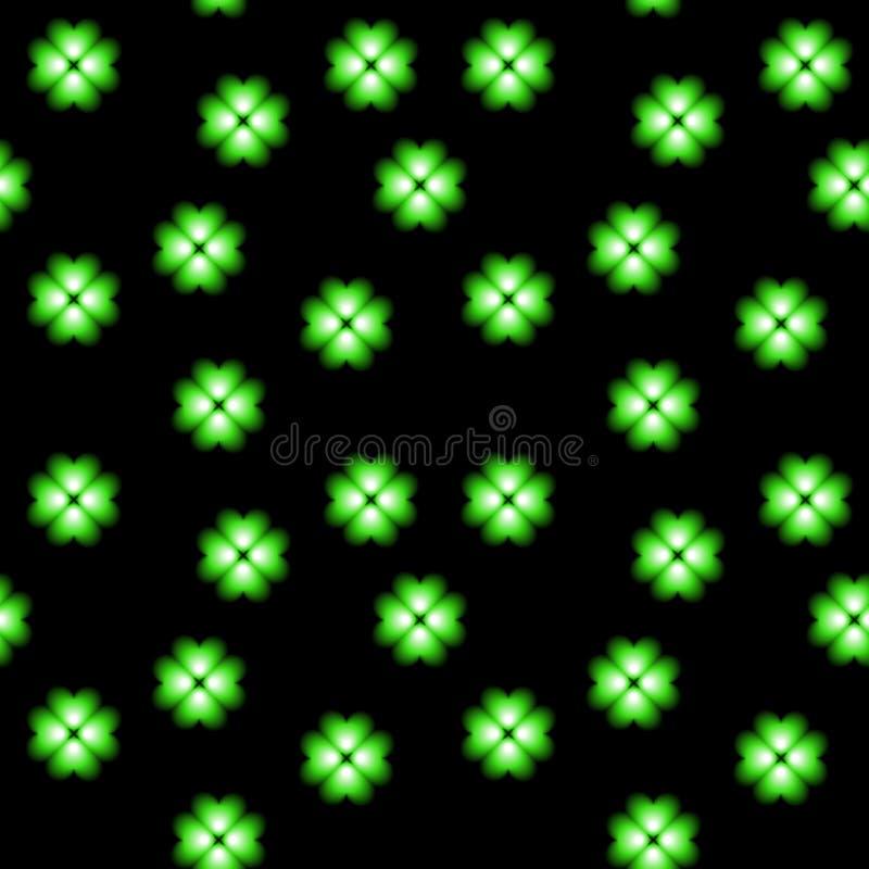 Groene neonklaver, geluksymbool, bloemen vector naadloze achtergrond royalty-vrije illustratie