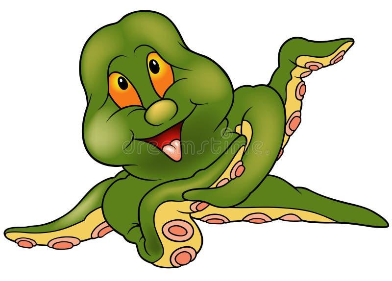 Groene Octopus Cherful royalty-vrije illustratie