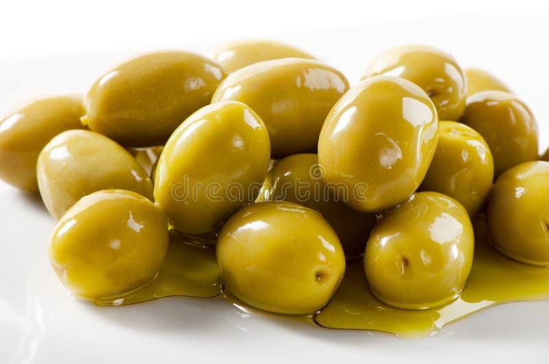 Groene olijven royalty-vrije stock foto's