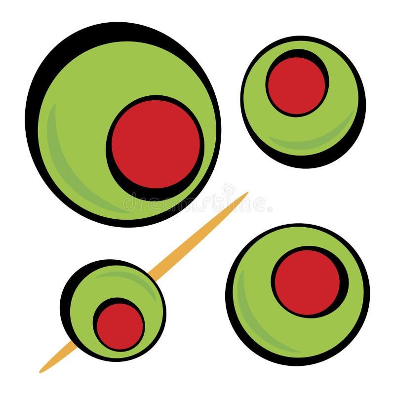 Groene Olijven stock illustratie